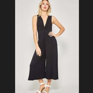 Black cropped jumpsuit with a twist knot! New!!